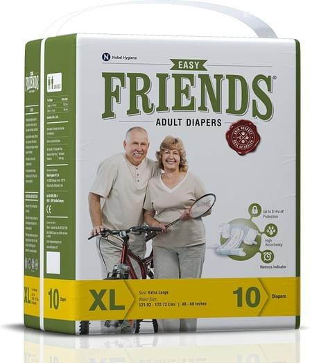 Friends Easy Adult Diapers Extra Large Pack Of 10 (taped Diaper)