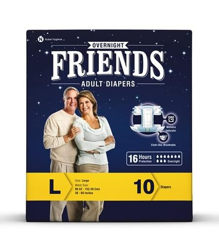Friends Overnight Adult Diapers Large Pack Of 10 (taped Diaper)