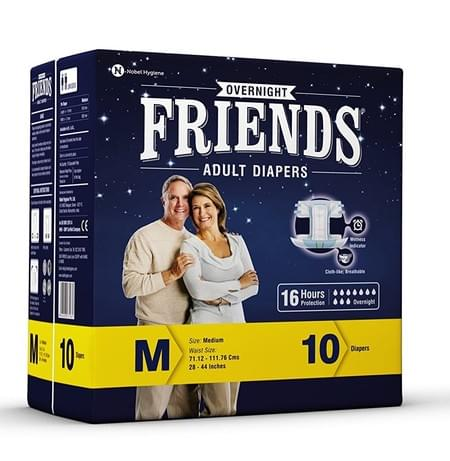 Friends Overnight Adult Diapers Medium Pack Of 10 (taped Diaper)