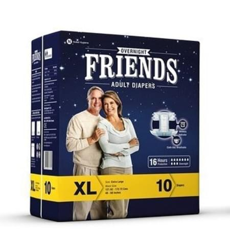 Friends Overnight Adult Diapers Extra Large Pack Of 10 (taped Diaper)