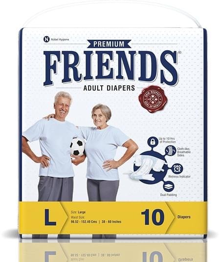Friends Premium Adult Diapers Large Pack Of 10 (taped Diaper)