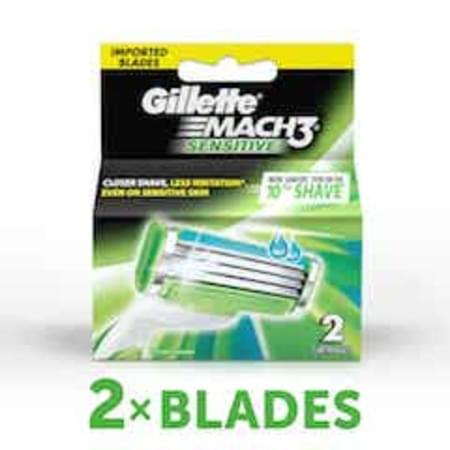 Gillette Mach 3 Sensitive Manual Shaving Razor Blades 2 Pieces