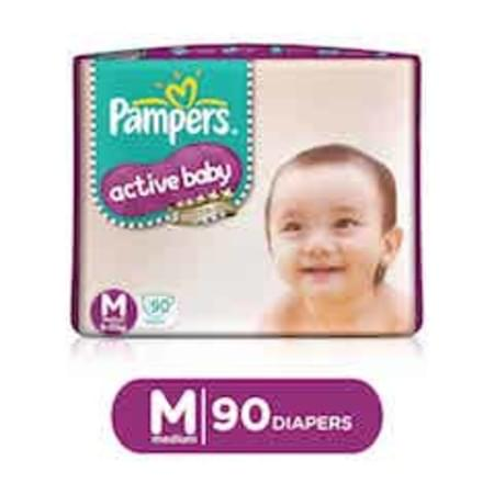 Pampers Active Baby Diapers Medium Size 90 Pieces