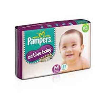 Pampers Active Baby Diapers Medium Size 62 Pieces
