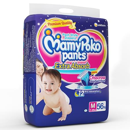 Mamypoko Pants Extra Absorb Diaper Medium Size Pack Of 56
