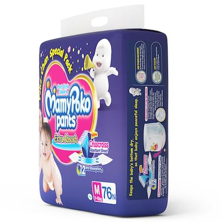 Mamypoko Pants Extra Absorb Diaper Medium Size Pack Of 76